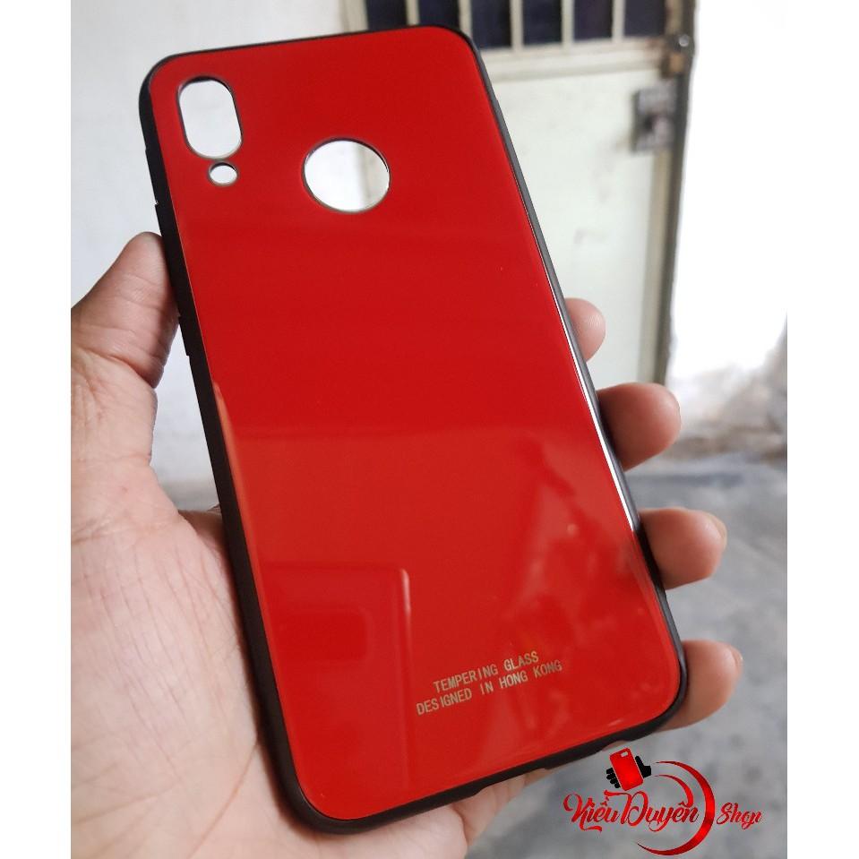 Ốp lưng kính Huawei Nova 3e,viền nhựa dẻo