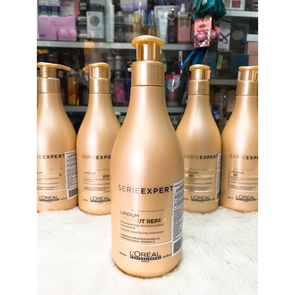 (500ml) Dầu gội phục hồi tóc hư tổn L'Oréal Absolut Repair Lipidium Pro Salon
