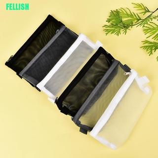 (FEL) Clear Exam Pencil Case S/L Transparent Simple Mesh Zipper Stationery Bag School