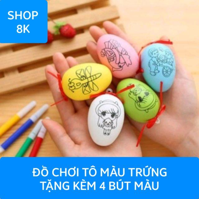 Đồ chơi tô màu trứng tặng kèm 4 bút màu