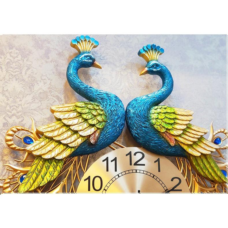 Đồng hồ treo tường chim công đôi cỡ lớn DNS114 (KT 93x90cm)
