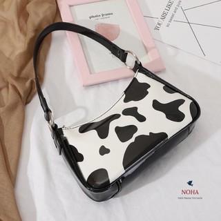 Túi xách nữ da mềm đeo vai hoạ tiết bò sữa siêu hot - Túi bò sữa da mềm