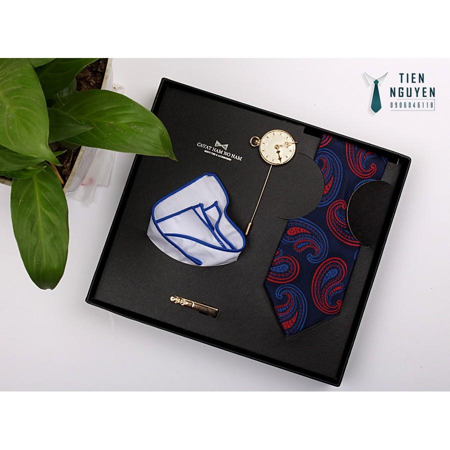 Bộ cà vạt nam cao cấp full box - xanh08