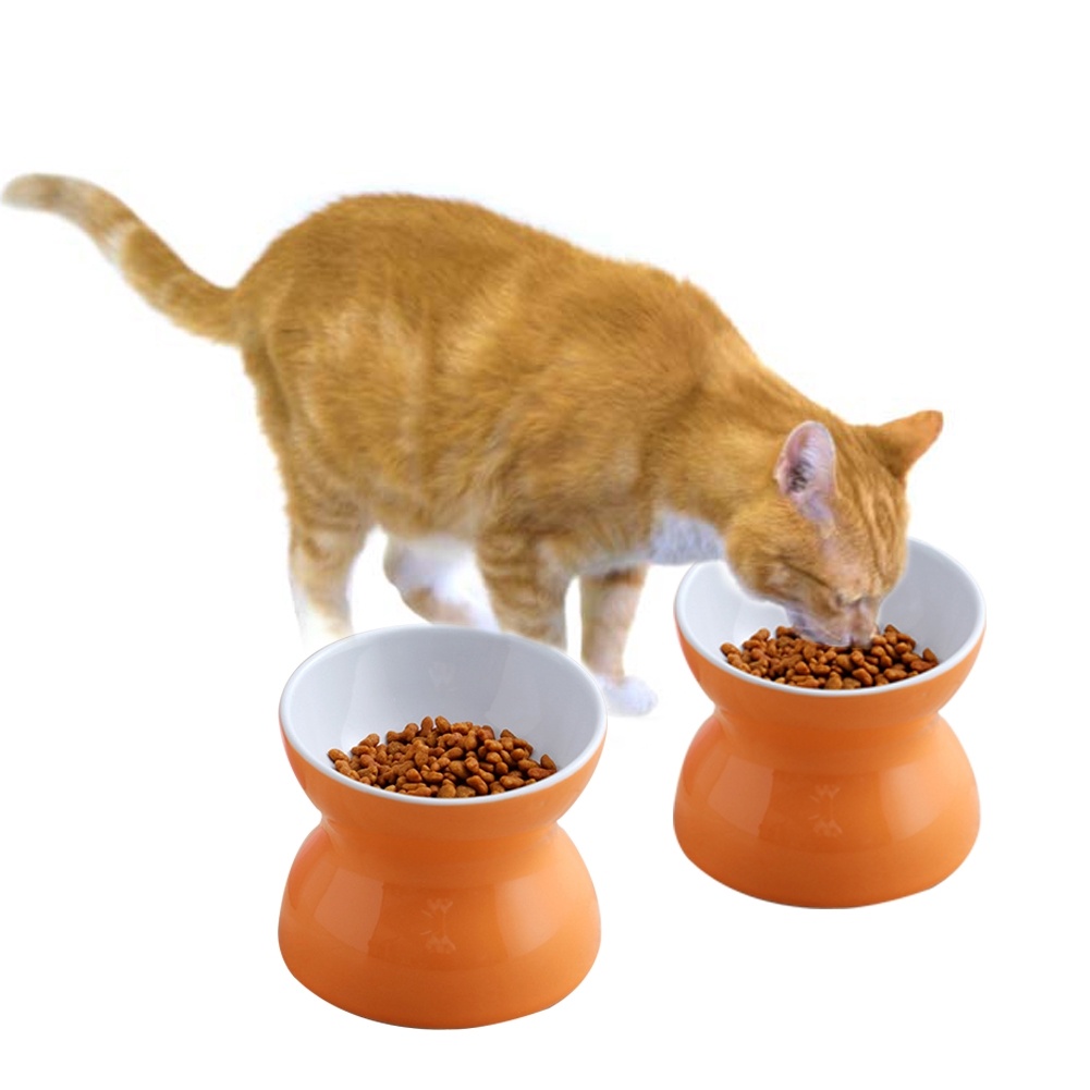 Food Dish Round Ceramic Raised Stable Pet Supplies Water Feeding Cat Bowl