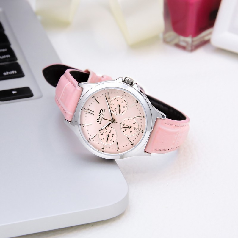 Đồng hồ CASIO LTP-V300L-4A nữ dây da chính