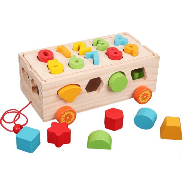 Đồ chơi xe kéo thả hình khối và số bằng gỗ
