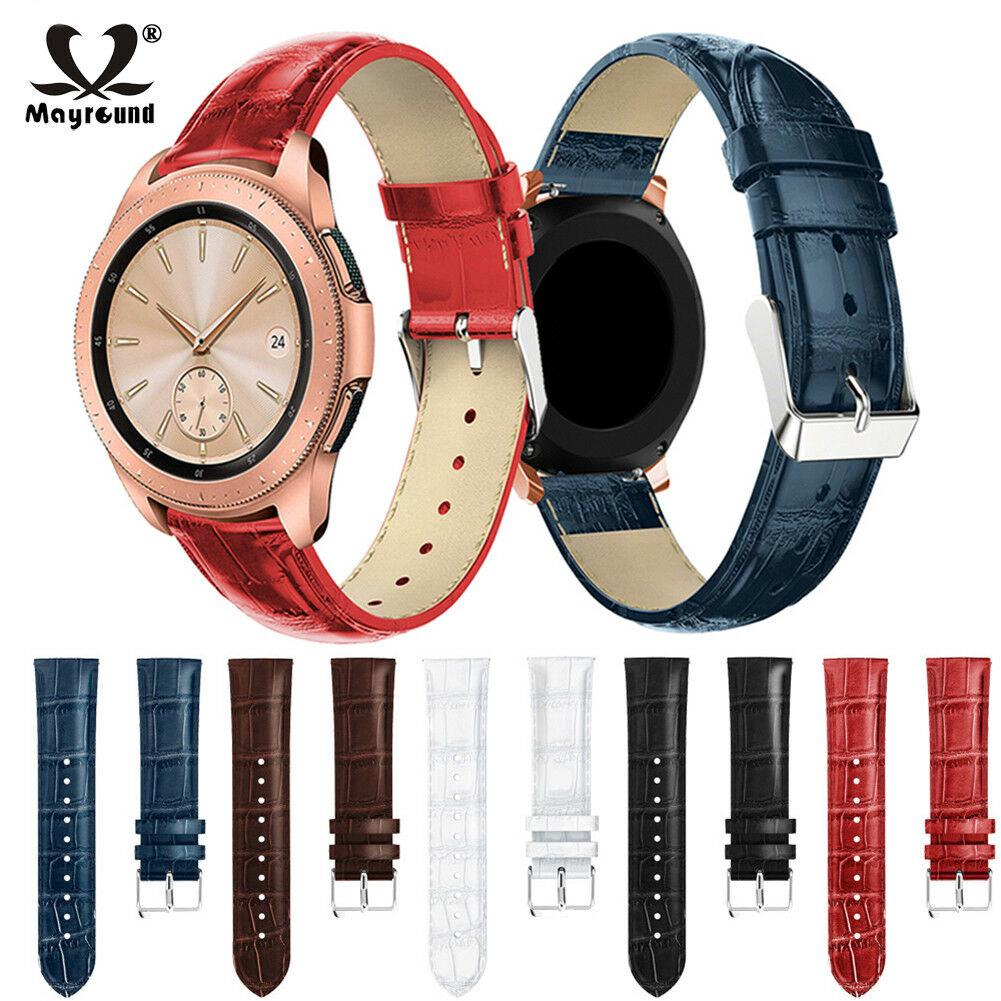 20mm 22mm Genuine Leather Band Replacement Strap Bracelet For Samsung Galaxy Watch 42/46mm