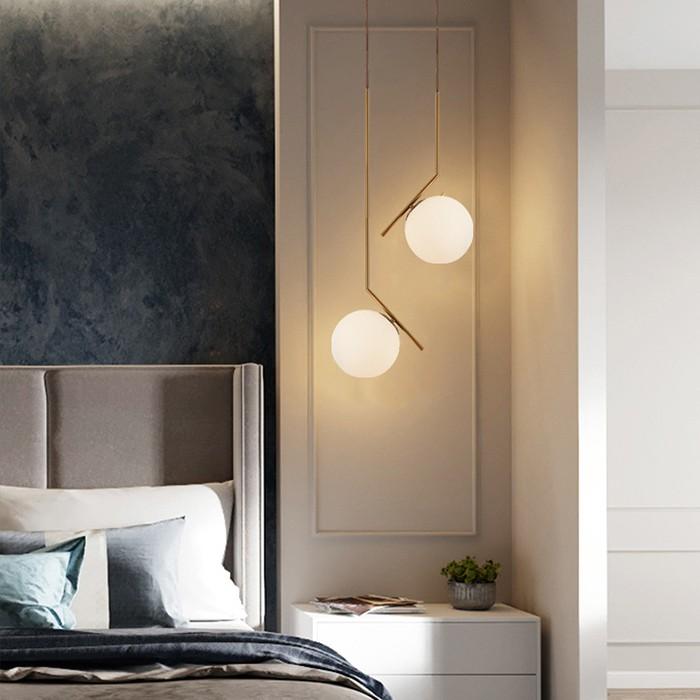 Combo 2 đèn thả bàn ăn, đèn trang trí cao cấp hiện đại hình cầu trang nhã mạ vàng đẹp mắt MOON SKY - đã bao gồm bóng LED