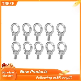 Treee 10pcs M6 Stainless Steel Lifting Eye Ring Bolts Screw Fastener Nuts Shoulder Bolt