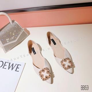 Bệt nữ HHS da sần đá xanh 4 cánh Hà Huyền Shoes - BB159
