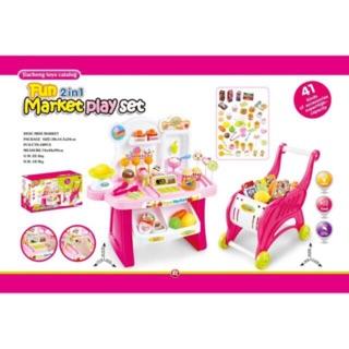 Bộ đồ chơi quầy kem, xe đẩy siêu thị 41pcs