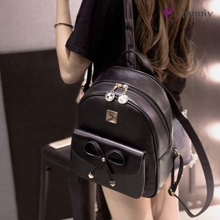 ✨JNY✨ Women Travel Backpack PU Leather Bowknot Double Zipper Girls Casual School Bag