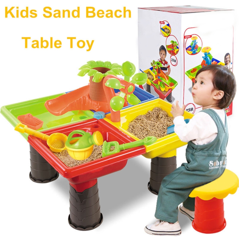 Kids Sand & Water Table Box Children Outdoor Activity Beach Sandpit Toy Play Set