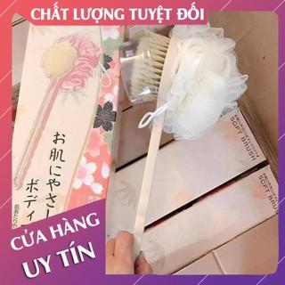 [Hàng xuất nhật cao cấp fullbox] Cây chà lưng khi tắm, cây cọ lưng 2in1 – Lan Chi Mart