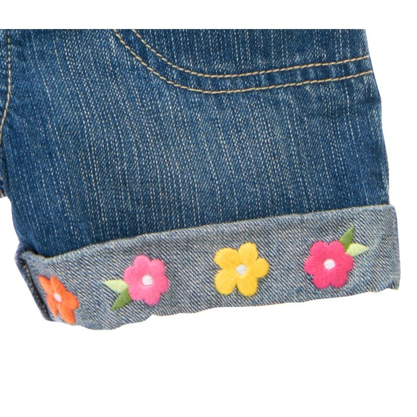 Quần short jeans Gymboree Embroidered Flower Cuff jeans ...