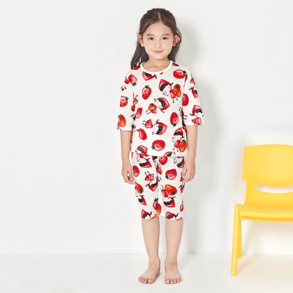Đồ bộ lửng cotton cho bé trai, bé gái mùa hè Unifriend U21-04. Size 3, 5, 6, 7, 8 tuổi.