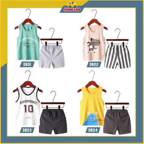 Bộ quần áo trẻ em ba lỗ mùa hè ,đồ bộ bé trai, bộ quần áo thun cho bé chất cotton hàng xuất Hàn Quốc DBDB13