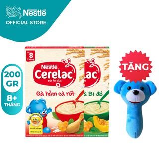 [Tặng Lục Lạc Gấu Cầm Tay] Combo 2 Hộp Bột Ăn Dặm Nestlé Cerelac Gà Hầm Và Rau Xanh Bí Đỏ 200g Hộp thumbnail