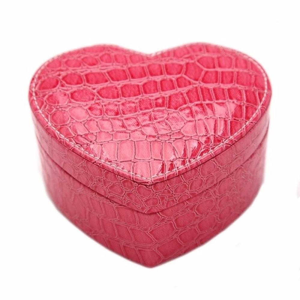 Hộp đựng đồ trang sức hình trái tim bọc da (Hồng)