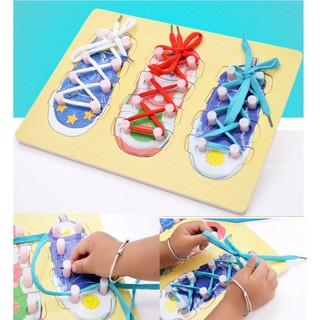 Đồ chơi bảng gỗ bộ 3 ghép hình và buộc dây giày cho bé