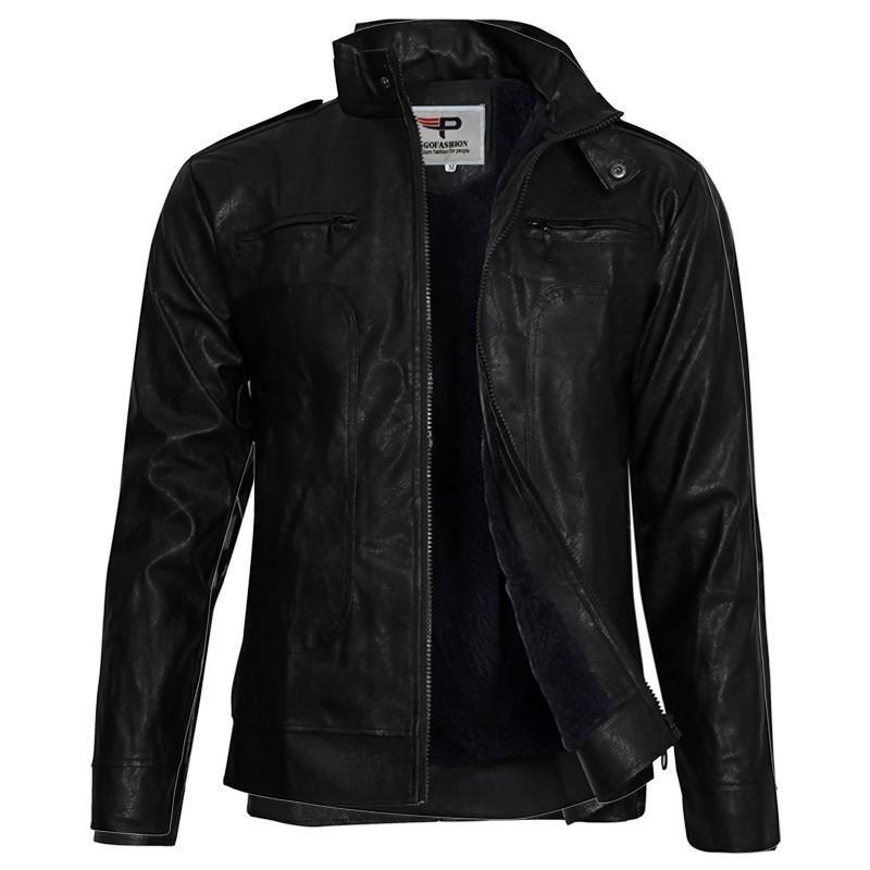 Hot Áo Khoác da nam Leather lót lông thu đông cao cấp PAD98 - Đen còn hàng - Áo khoác dạ