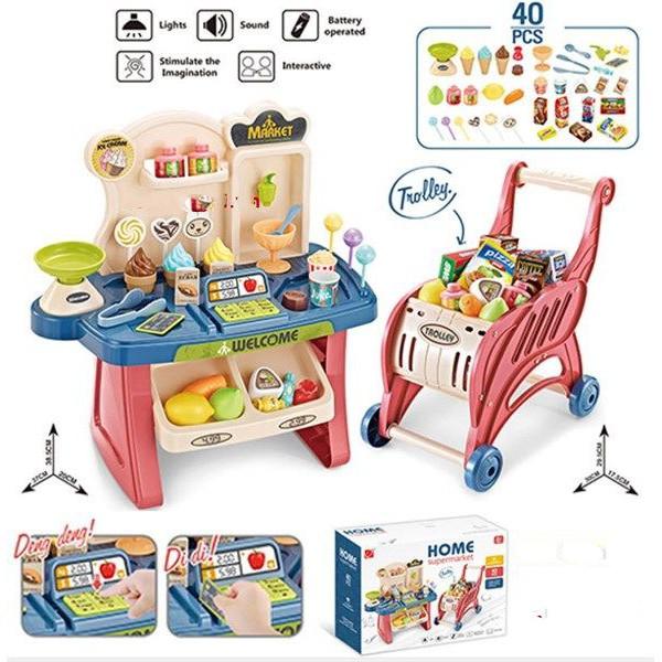 (Freeship đơn 50k) Trò chơi cho bé gái nhập vai đi siêu thị có xe đẩy kèm bàn bán hàng dùng pin phát nhạc (loại đại)