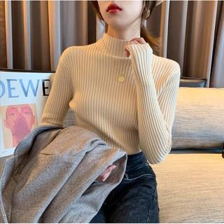 Áo Len Nữ Dài Tay Cổ Lọ Sọc Vằn Thời Trang Hàn