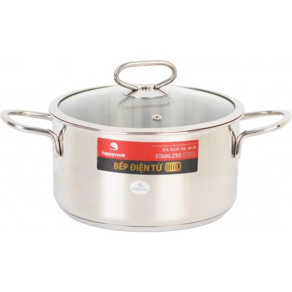 Nồi inox cao cấp 3 đáy bếp từ nắp kính 16cm Happy Cook Delux N16-DLG