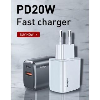 Củ sạc nhanh Essager cổng USB 20W PD3.0 QC3.0 Cho iPhone 12 Pro Mã
