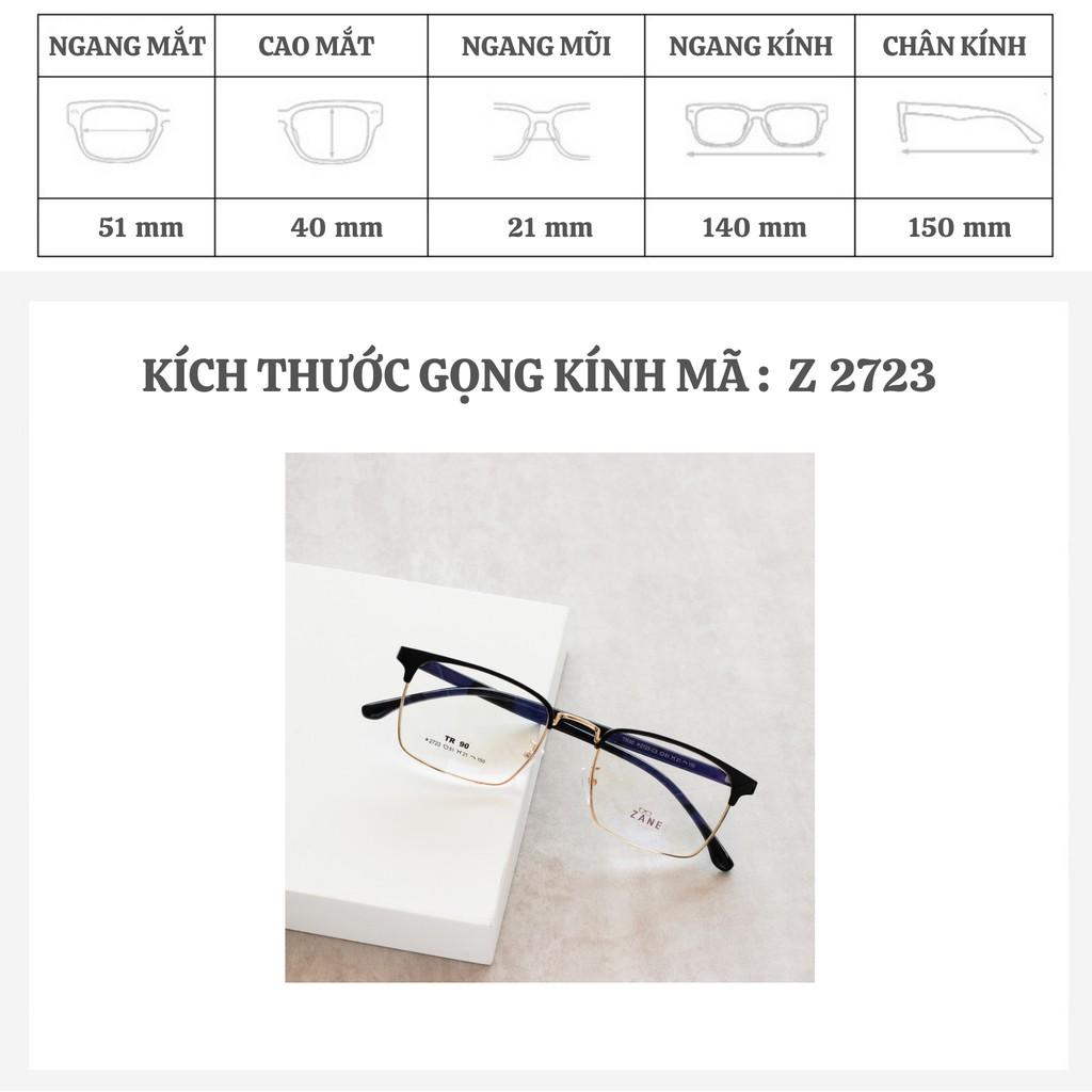 [LẮP SẴN CẬN] – Gọng cận nam, tròng kính đổi màu, chống ánh sáng xanh, gọng kính vuông mã Z5201-2723
