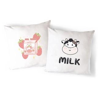 Vỏ Gối Sofa bò sữa VGI23 gối ôm mèo may mắn maneki neko Gối Tựa lưng Sofa Gối vuông Gối Trang Trí vải canvas 45x45cm