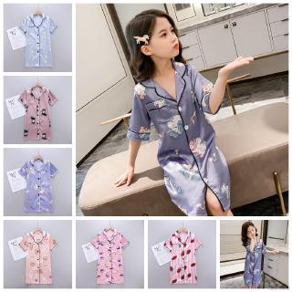 【Superseller】Summer Kids Big Girls Cartoon Rayon Cartoon Nightgown Sleepwear Pajamas Dress 4-14 Years Old