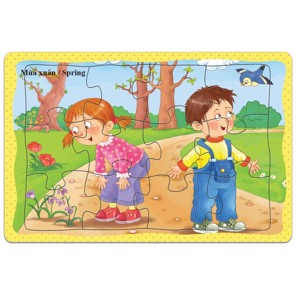 (Giá sốc) Tranh Xếp hình 12 mảnh: Xe, đông vật, bé yêu. Đồ chơi trí tuệ cho bé từ 3 tuổi. Hàng Việt Nam Chất lượng cao.