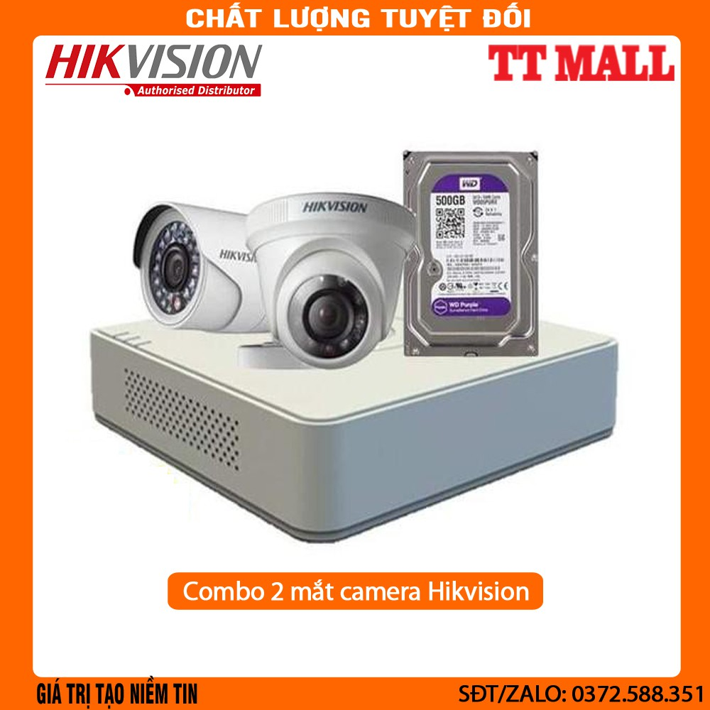 Gía Hủy Diệt}Bộ camera 2 mắt 2.0MP Hikvision+ HDD 500G+ 20m dây liền nguồn  đúc sẵn 2 đầu cho mỗi mắt . . - Hệ thống camera giám sát