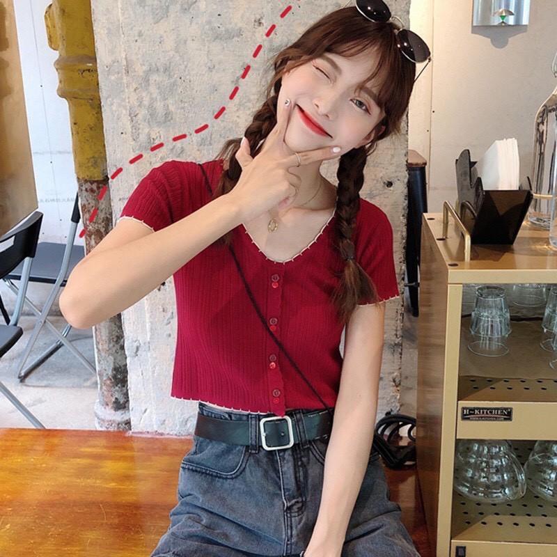 Mặc gì đẹp: Đẹp hơn với Áo Len Tăm Dệt Kim Tay Ngắn 🎀 Áo croptop kiểu ngắn tay phong cách ulzzang Hàn Quốc C36 - Maoshop