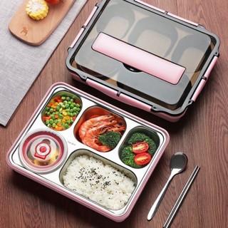 Khay đựng cơm 5 ngăn inox 304 có nắp giữ nhiệt chống tràn tiện lợi
