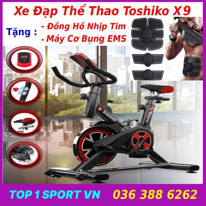 Xe đạp tập thể dục tập thể thao tập gym tại nhà TOSHIKO X9 Tặng đồng hồ nhịp tim + máy tập cơ bụng EMS, bảo hành 3 năm