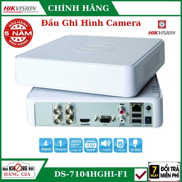 Đầu Ghi Camera Hikvision DS-7104HGHI-F1 , Ghi hình 1080PLite@25fps, 720P@25fps , Hỗ trợ 1 ổ cứng (tối đa 6TB/ổ)