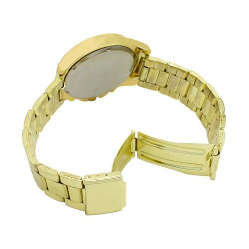 Đồng hồ Geneva 3 mặt đính đá bằng thép không gỉ cho nữ