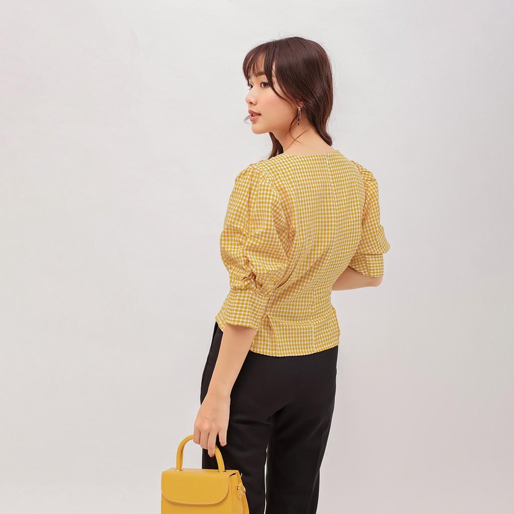 Áo Kiểu Thời Trang Eden Caro Dáng Ngắn Xếp Li Tay Rút - ASM078