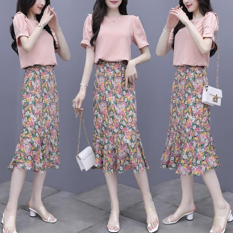 [SALE SẬP SÀN] Chân váy, chân váy dài hoa nhí Vintage Ulzzang style đuôi cá, form chuẩn , mẫu hot trend