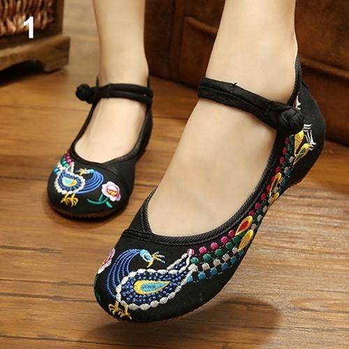 Giày bít mũi thêu chim phượng hoàng phong cách Trung Quốc cổ điển
