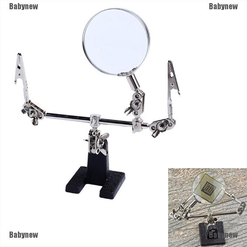 Babynew 1X Third Hand Soldering Iron Stand Helping Clamp Vise Clip Magnifying Glass Tool
