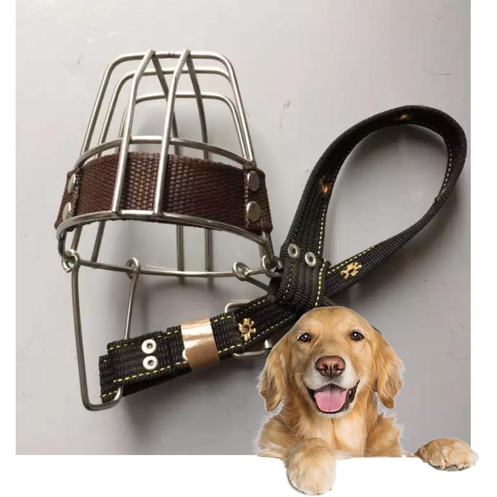 Rọ mõm cho chó - Rọ mõm inox KHÔNG GỈ chó (3 size) dựa vào Chu vi mõm chó|Đại (mõm 35-45cm)