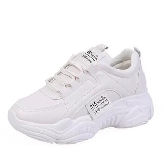 Giày sneakers nữ đế cao chất da đẹp S15 Hot Trend , mới nhất 2021 HAPU (trắng, kem) thumbnail