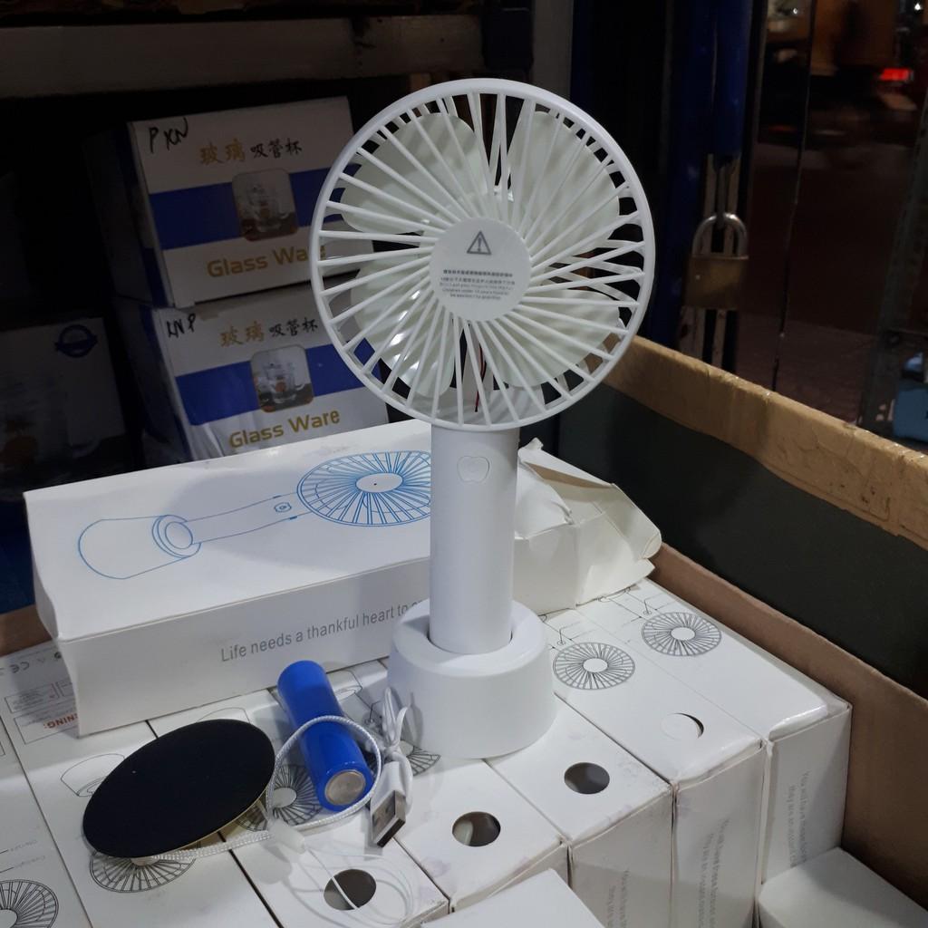 Quạt Sạc Tích Điện USB mini Fan - Kèm Pin và Cáp sạc và Chân đế