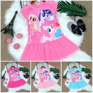 Váy Đầm thun Bé Gái ngựa PONY Cao Cấp Mềm Mát size nhí đại 3-10