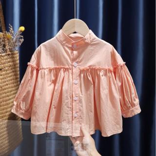 Áo sơ mi bé gái HÀNG CAO CẤP Áo sơ mi bé gái dáng rộng, màu hồng phấn TE2675 thumbnail