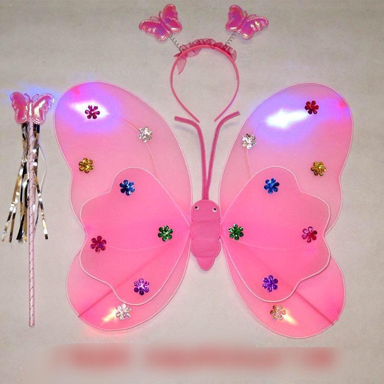 Cánh bướm thiên thần CÓ ĐÈN kèm Gậy và vương miện cho bé gái – Đồ chơi trung thu Smart Baby
