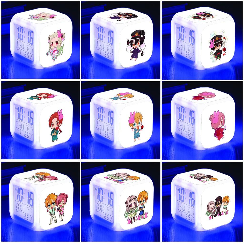 Đồng hồ báo thức để bàn in hình JIBAKU SHOUNEN HANAKO-KUN ÁC QUỶ NHÀ XÍ anime chibi LED đổi màu